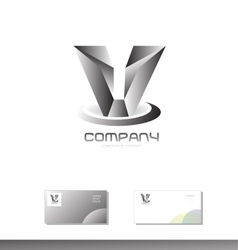 Alphabet letter v grey silver metal logo vector