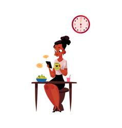 black businesswoman using smartphone having vector image vector image