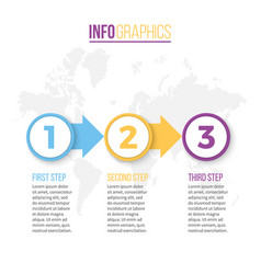 business infographics presentation with 3 steps vector image