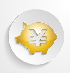 Button yen piggy bank design with shadow effect vector