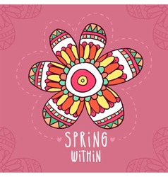 Card background with hand drawn flower in ethnic vector image vector image