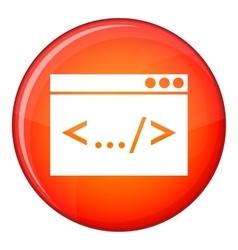 Code window icon flat style vector