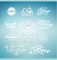 Different summer travel lettering many logo on vector