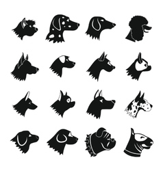 Dog icons set simple style vector