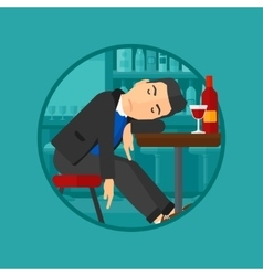 Drunk man sleeping in bar vector image