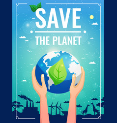 ecology colored poster vector image vector image