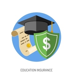 Education insurance flat icon vector