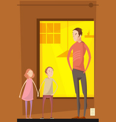 father abusing children composition vector image vector image