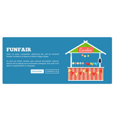 Funfair poster with market candies counter vector