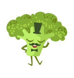 Gentleman broccoli cute anime humanized cartoon vector