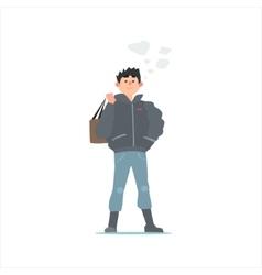 Guy in black winter jacket vector