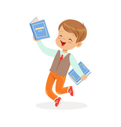 happy boy running with books kid enjoying reading vector image