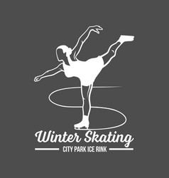 ice skating label logo vector image