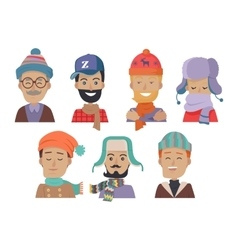 Icons set of smiling men in hats and scarves vector