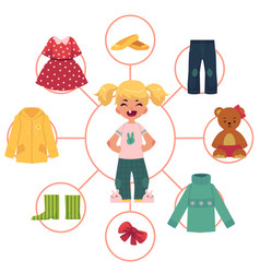 Little girl child kid and her wardrobe clothes vector