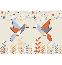 Origami hummingbird couple over beige vector image