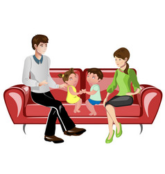 Parents and their children on sofa vector