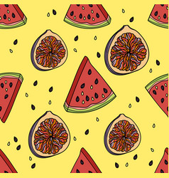 seamless pattern with watermelon and figs vector image vector image