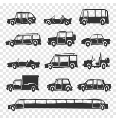 set of funny cartoon car vector image vector image