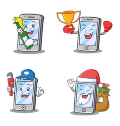 Set of iphone character with plumber boxing beer vector