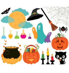 Set of magical symbols of Halloween vector image vector image