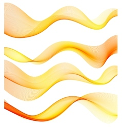 Set of orange transparent smoke wave vector image