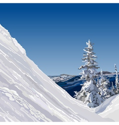 Snow slope with trees in the mountains vector