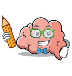 student brain character cartoon mascot vector image