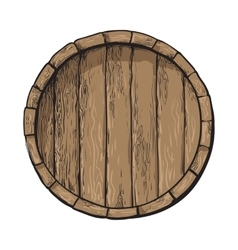 Top view of sketch style wooden barrel with tap vector
