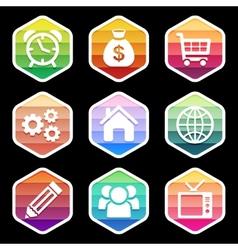Trendy colorful icon seton black design vector image vector image