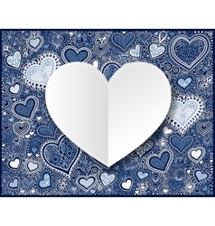 Valentines day white paper on hand drawing blue vector