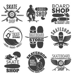 vintage skateboarding shop emblems set vector image vector image