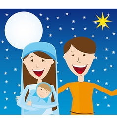 Virgin Mary St Joseph and baby Jesus over night vector image