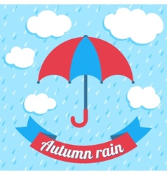 with umbrella and ribbon banner vector image