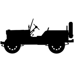 world war two military jeep silhouette vector image vector image