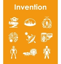 Set of invention simple icons vector