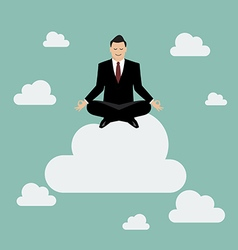 Businessman meditating on a cloud vector