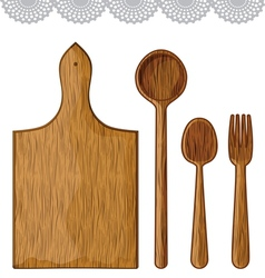 Wooden kitchen utensils vector