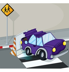 A violet car having an accident at the road vector