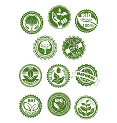 Eco green natural bio organic product symbol set vector
