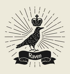 Background with black raven hand drawn inky bird vector