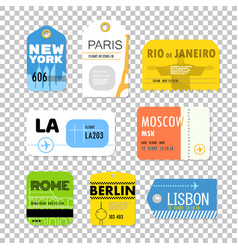 Different boarding pass collection flat design vector