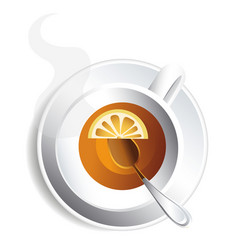 Cup of tea with lemon for design image for vector