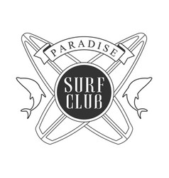 Paradise surf club logo template black and white vector