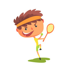 Young tennis player with a racket in his hand vector