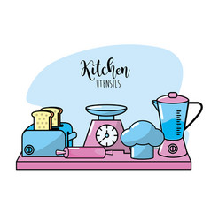 kitchen utensils elements culinary collection vector image