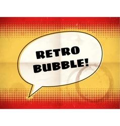 Retro speech bubble on aged halftone card vector image
