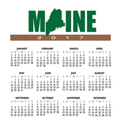 2017 Maine calendar vector image vector image