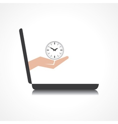hand holding clock comes from laptop screen vector image
