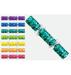 Bright retro christmas crackers in format vector